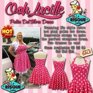 Pin up Pink Polka Dot Halter Dress